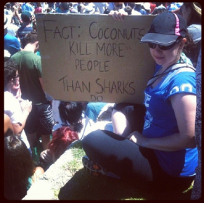 Me at the protest at Cottesloe Beach